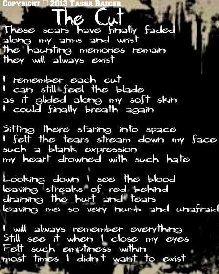 Poem written by Tasha Badger about the memory of cutting ...