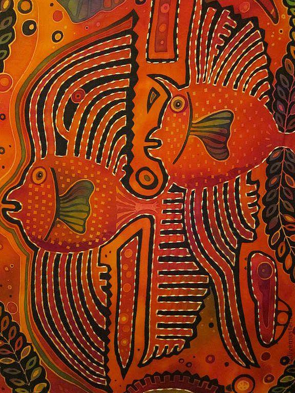 """Купить """"Рыбы-сплетницы"""" батик-картина - ярко-красный, картина для интерьера, рыба, индейские мотивы"""