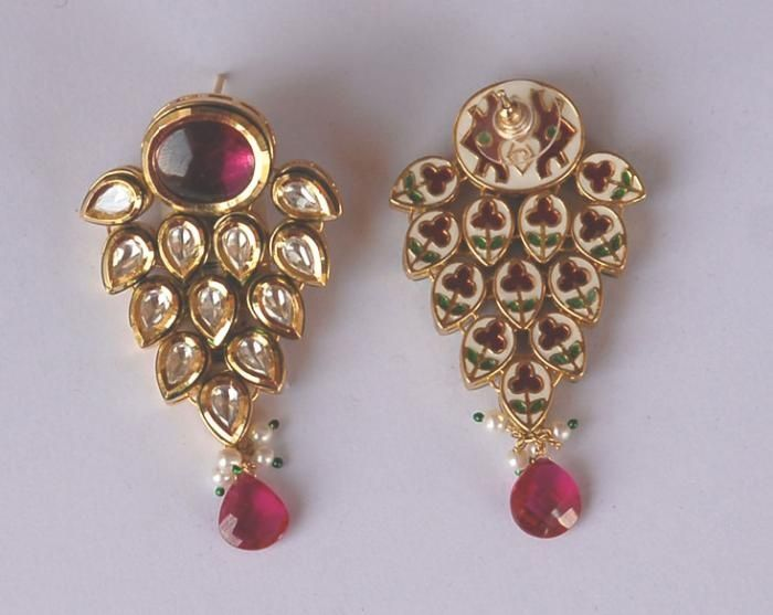 Ruby and uncuts earrings