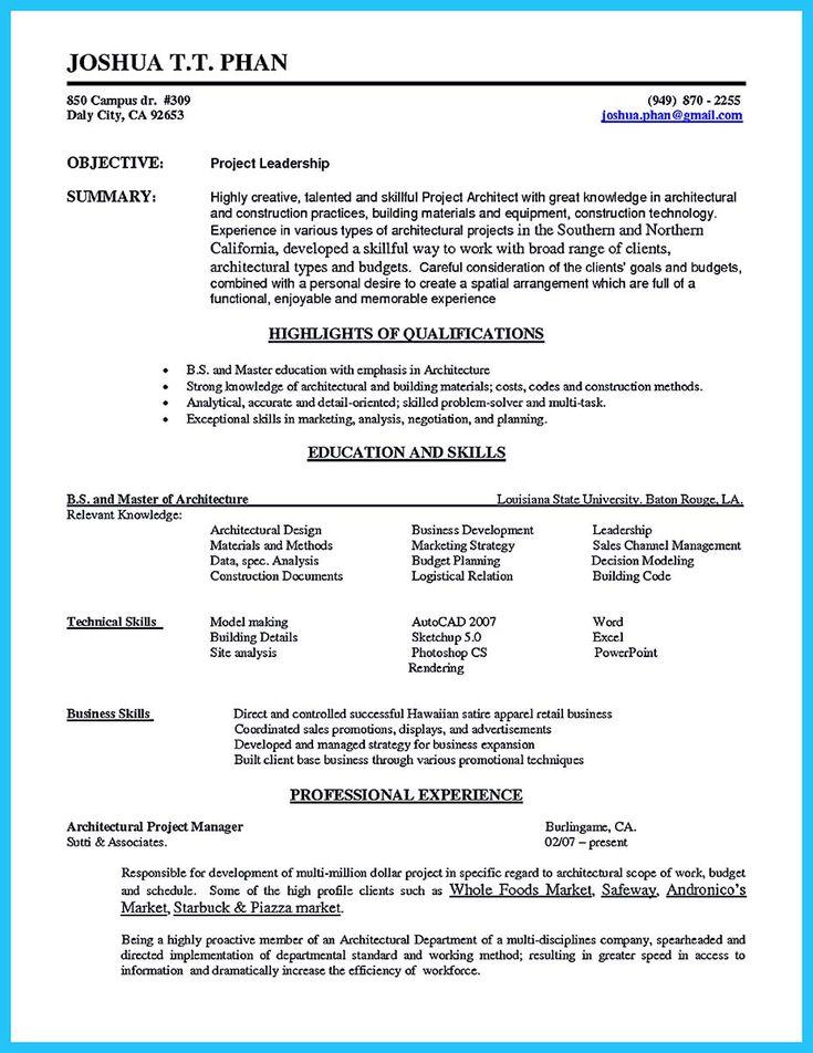 Ponad 25 najlepszych pomysłów na Pintereście na temat Sales resume - associate architect sample resume
