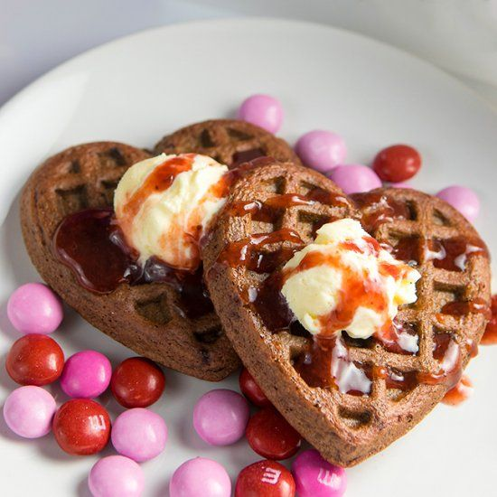 These chocolate strawberry dessert waffles are easily made using cake mix. Use a heart shaped waffle maker for a Valentine's Day treat!