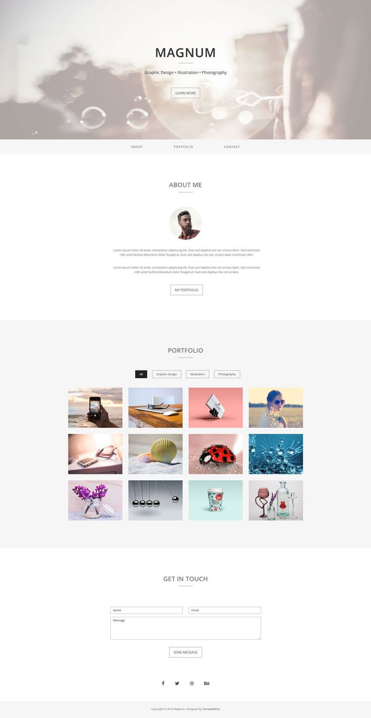 Magnum is a free, simple and minimalist one page personal portfolio template built with Bootstrap.