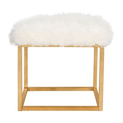 Safavieh FOX6288 Rowan Contemporary Glam Faux Sheepkin Square Ottoman