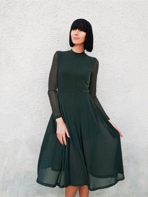 981e8fa480 SHEIN Green Elegant Party Mock Neck Glitter Button Fit And Flare Solid  Natural Waist Dress