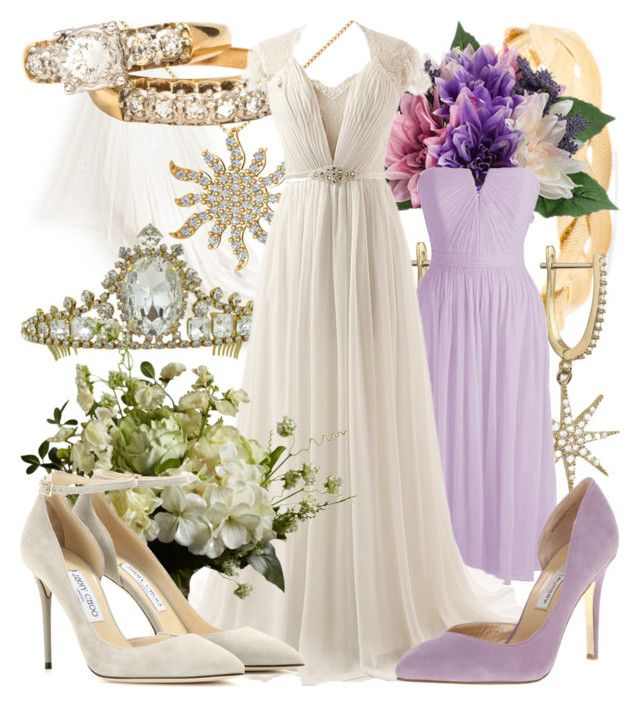 """Rapunzel - Wedding"" by fabulousgurl ❤ liked on Polyvore featuring Talia Naomi, Allurez, Chinese Laundry, Jimmy Choo, wedding, disneybound and tangled"