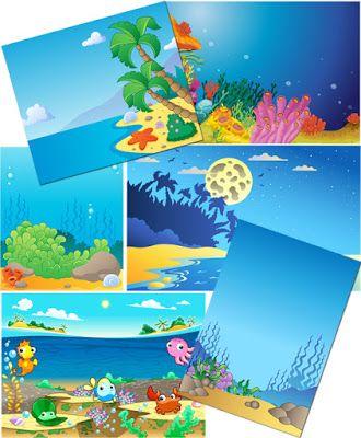 Портфолио для детского садика и школы: Морские фоны для оформления работ