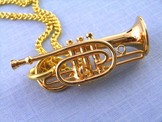 Trumpet Necklace Trumpets Instrument gold plated Miniblings Music Orchestra Trumpeter. I MUST HAVE!!!!