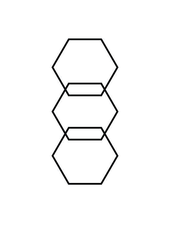 Hexagon Print Black and White Geometric von MelindaWoodDesigns