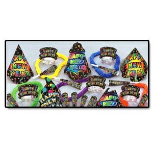 "The New Yorker Assortment for 50 People.     Assortment includes 25 full sized printed hats, 25 printed tiaras, 50 9"" printed horns & 25 soft twisted poly leis, complete in a corrugated shipper."