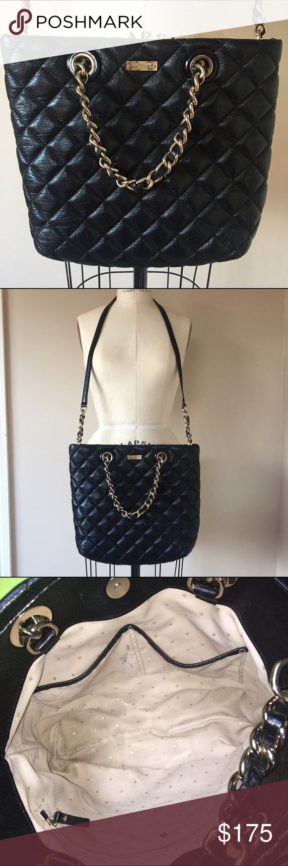 """Kate Spade New York Gold Coast """"Lilou"""" Tote Authentic Kate Spade """"Lilou"""" Tote in black quilted calfskin leather with foil metallic coating. 14K light golden hardware. Woven chain handles with a 4"""" drop. Shoulder strap with a 20"""" drop. Dot-print canvas lining inside with one zip and two open pockets. 11""""H x 11""""W x 4""""D. Weighs approx. 1lb 8oz. Inside has some pen marks and makeup/pen marks in the inner pocket. I have NOT tried to clean this and I'm sure most of it would come out with…"""