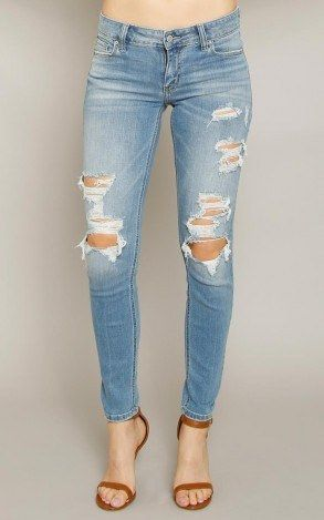 EUNINA Mica Low Rise Skinny Ankle Distressed Jeans