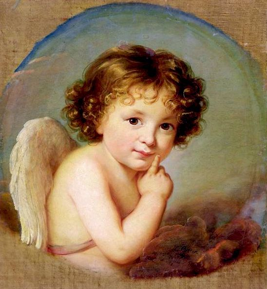 Prince Boris Nicholaevitch Youssoupov, as Cupid 179?, oil on canvas, circular 44 x 44 cm, signed and dated