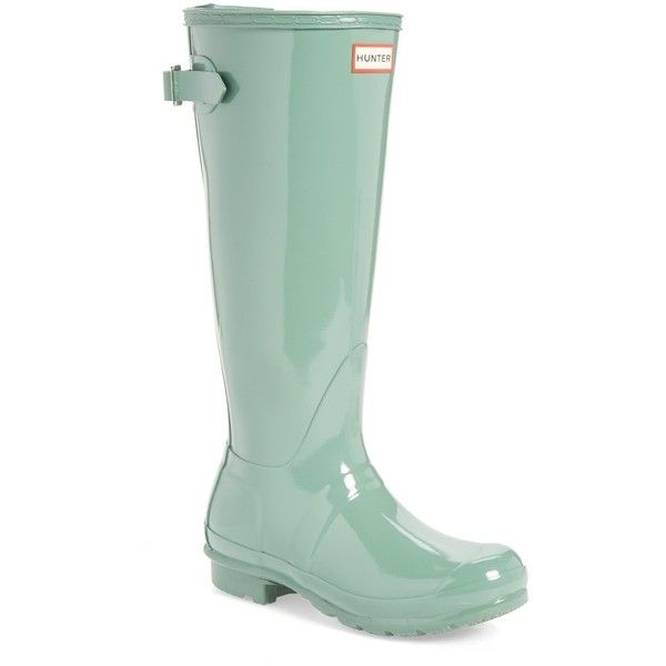 Women's Hunter Adjustable Back Gloss Rain Boot ($160) ❤ liked on Polyvore featuring shoes, boots, succulent green, polishing boots, green wellington boots, green boots, rubber boots and shining boots