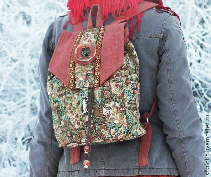 """Купить Гобеленовый рюкзак """"Лесная сказка"""" - рюкзак, рюкзачок, сумка-рюкзак, летний рюкзак"""