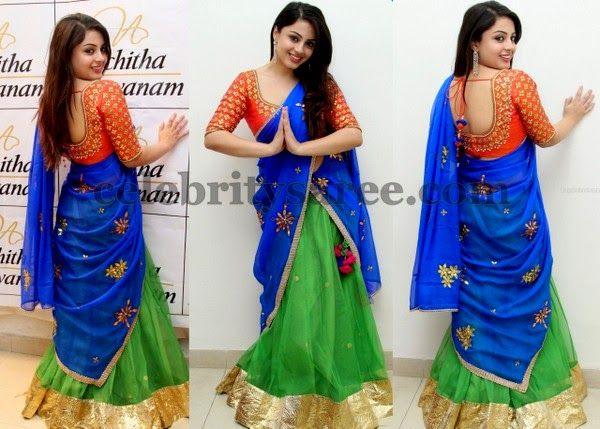 Suhani Green Net Half Saree | Saree Blouse Patterns