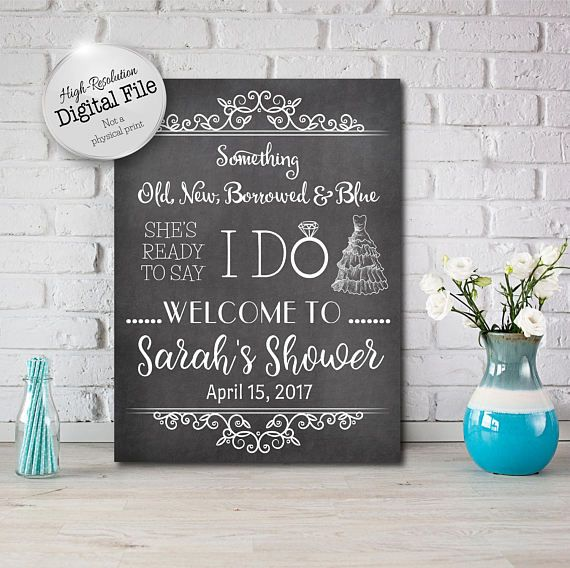 Something Old New Borrowed Blue Sign Bridal Shower Sign