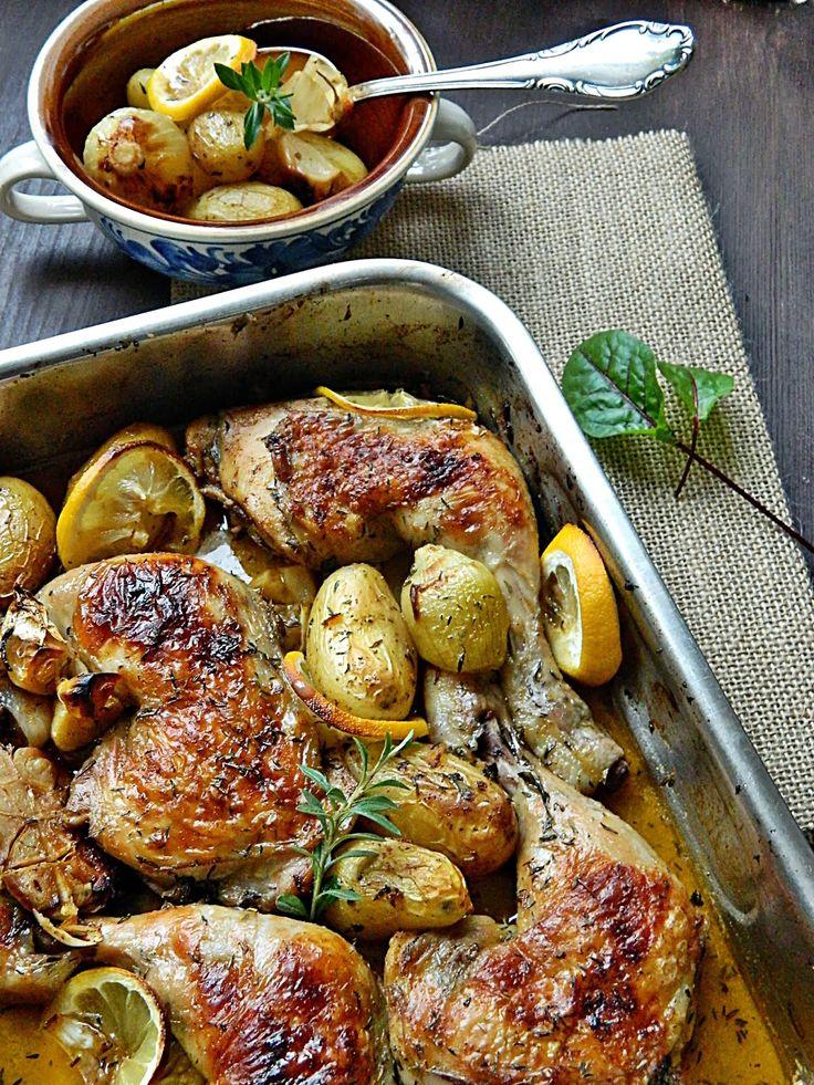 Dr Ola's kitchen: Roasted Chicken with Lemon & Herbs. Geröstete Hähnchen mit Kräuter & Zitronen. الفراخ المشوية في الفرن بالاعشاب والليمون