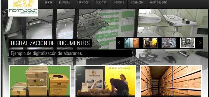 Web Normadat realizada con el CMS Joomla 2.5, Empresa de Gestión de Documentos. Entre sus clientes esta la Hacienda Publica Española. Incluye TIENDA ONLINE con TPV virtual, para el pago con tarjetas.