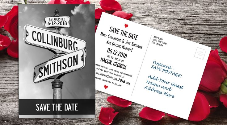 Save the Date Postcard with Custom Street Sign, Engagement Announcement, Wedding Postcard, 6x4 printed postcards or printable file by ArtfulJen on Etsy https://www.etsy.com/listing/567001376/save-the-date-postcard-with-custom