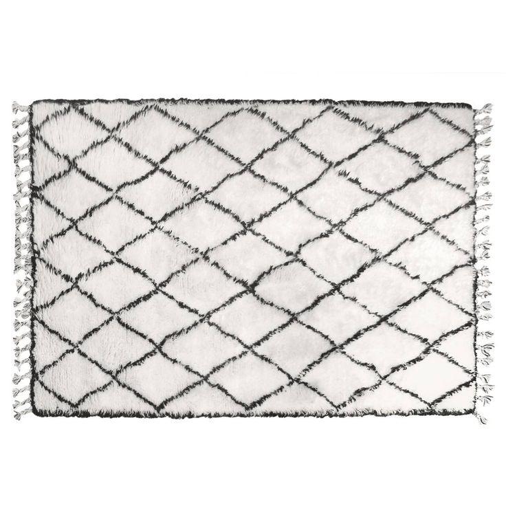 HK-living Berber Teppich Fransen Wolle Schwarz-Weiß-Rautenmuster 180x280cm