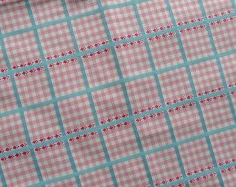 Vintage Franse katoen linnen stof met paars en wit controles