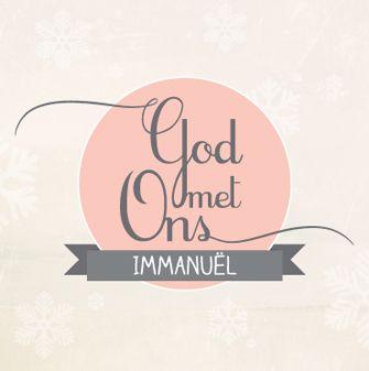 Kerstkaart 'Immanuël, God met ons'. Met bijbeltekst aan de binnenzijde. Ontwerp: HEEGoodies.com
