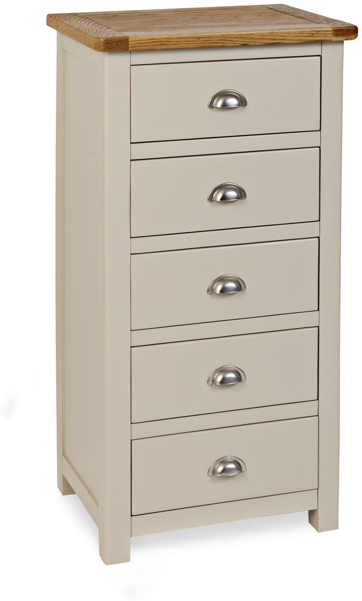 Shabby chic champagne furniture cream chest of drawers dressing - Plymouth Painted 5 Drawer Wellington Chest