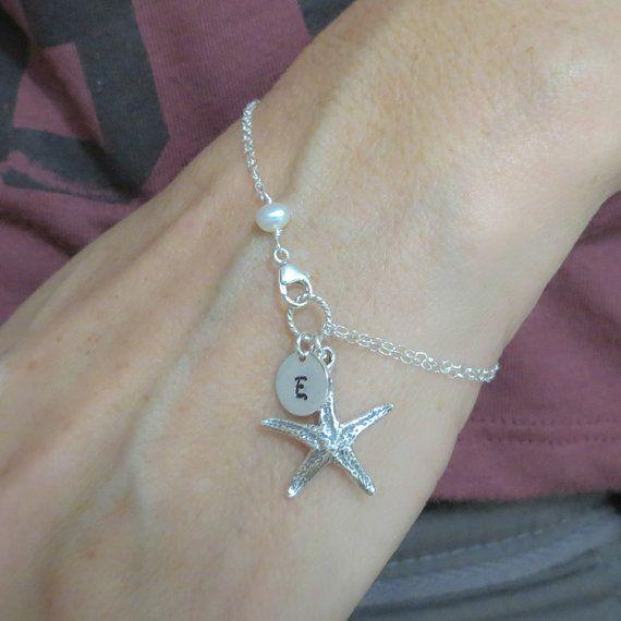 Starfish Bracelet, Sterling Silver Starfish Bracelet, Starfish Charm, Personalized Bracelet, Beach Theme, Customized Starfish Bracelet on Etsy, $29.00