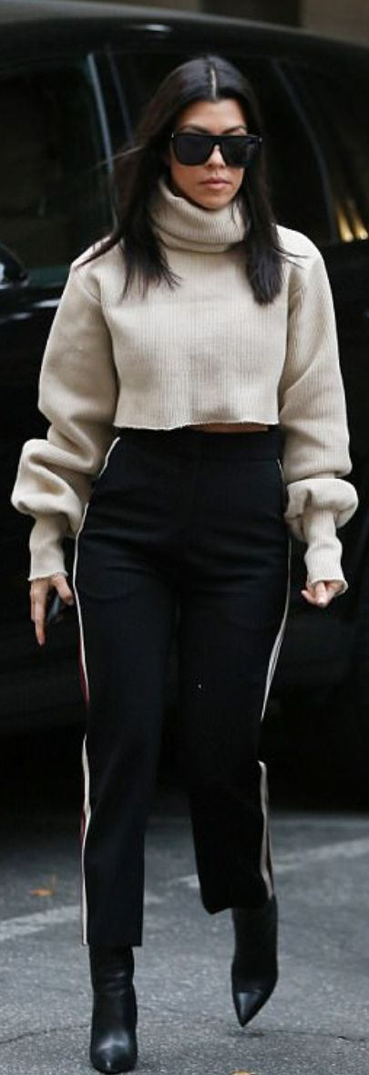 Kourtney Kardashian wearing Saint Laurent, Alessandro De Benedetti and Balenciaga