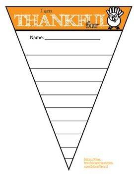 This is a Thanksgiving themed banner to tape to your walls and use in your classroom. You can use it for class decor. The theme is 'I am Thankful For' and the kids can write on it and post it. The turkey is fun to color. This is just meant to be a fun freebie.