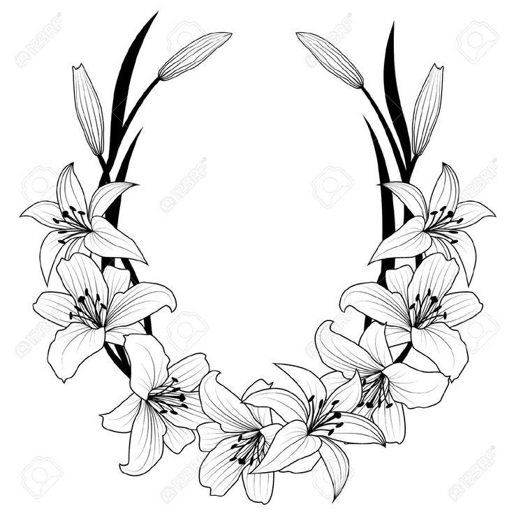 Rahmen Mit Blüten Der Lilie In Schwarzen Und Weißen Farben Lizenzfrei Nutzbare Vektorgrafiken, Clip Arts, Illustrationen. Image 14477447.