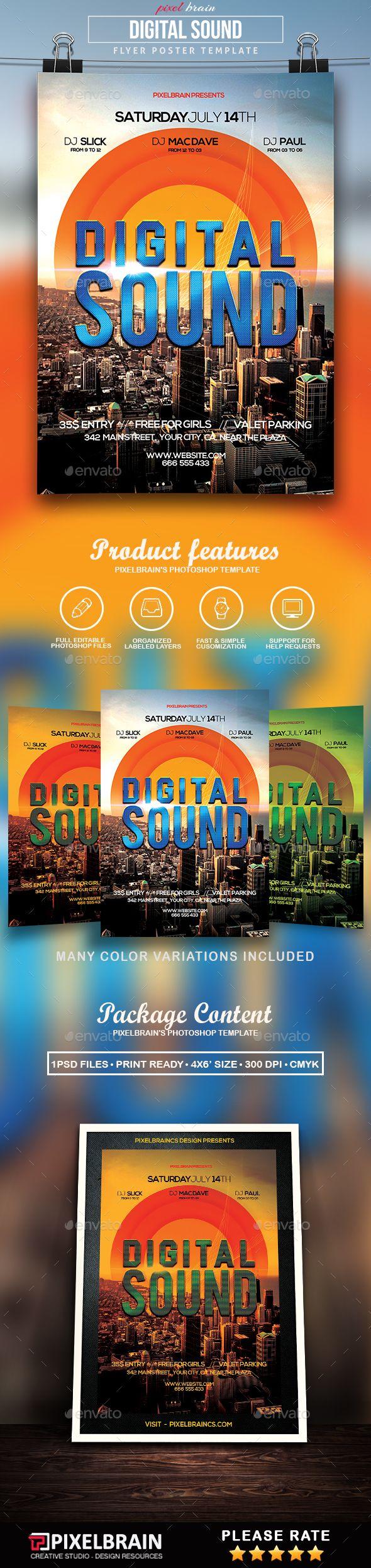 Poster design 101 - Digital Sound Flyer Template