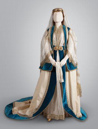 Greece, Ottoman period. Costume worn by Olga Constantinovna's ladies-in-waiting, Athens, Attica. 19th century.
