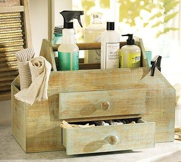 """Vintage Wood Cleaning Caddy, Linen White finish traditional-household-cleaning-products. 22"""" wide x 11.5"""" deep x 16"""" high Made of fir with a distressed painted finish. Catalog / Internet only. Sold By Pottery Barn. $79"""