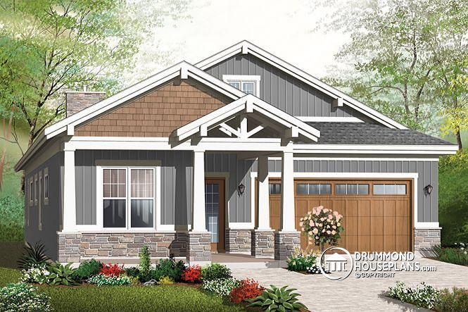 TAG SOMEONE WHO WOULD LIVE IN THIS CUTE, ENVIRONMENTALLY SUPERIOR CHALET Craftsman bungalow, 9' ceiling, open floor plan, large covered terrace http://www.drummondhouseplans.com/house-plan-detail/info/northaven-craftsman-northwest-1003128.html