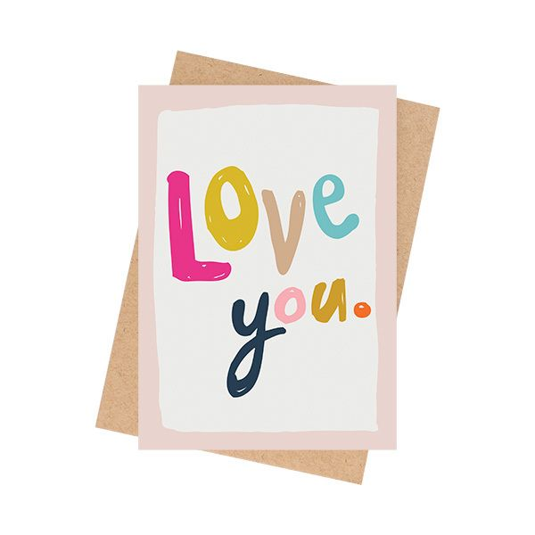 """""""Love You."""" cardA6 size (when folded) (5.8 x 4.1 inches) Blank InteriorPrinted on a matte 350 GSM white card packaged in a cello sleeve with a natural 100% recycled paper envelope. The card stock is produced with ECF pulp and is FSC Mix Certified.MA and GRANDY cards are designed and printed in Brisbane, Australia.Your order will be sent in a padded bag via Australia Post. Please allow 5-7 business days for delivery."""