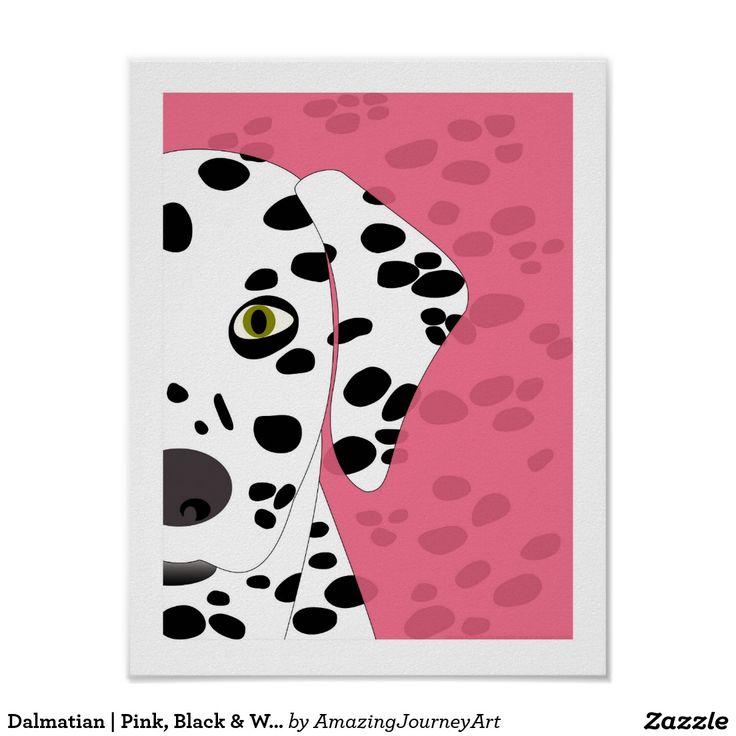 Dalmatian   Pink, Black & White Abstract Wall Art