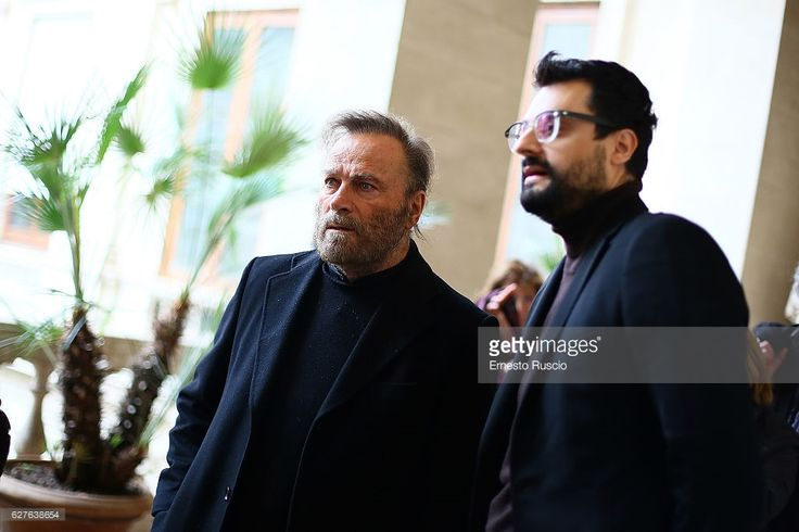 Franco Nero and Gabriele Tini attend the Songs Of Stone' By Gabriele Tinti at Museo Nazionale Romano Palazzo Altemps on December 4, 2016 in Rome, Italy.
