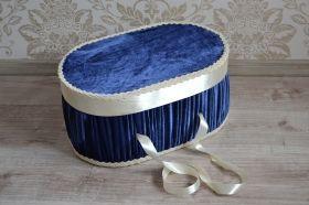 Cutie pentru trusou, model oval, catifea Bleumarin