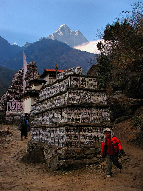 Some writings on the way from Lukla to Phakding which on the Everest Base Camp Trek, Nepal.