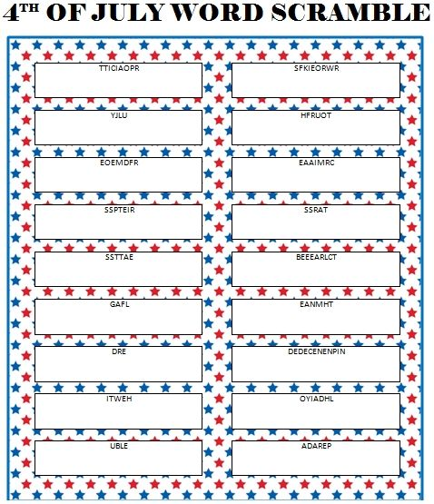 4th of July Word Scramble - free printable game for kids