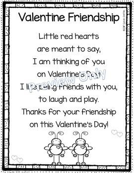 Valentine Friendship Poem For Kids First Grade Valentines