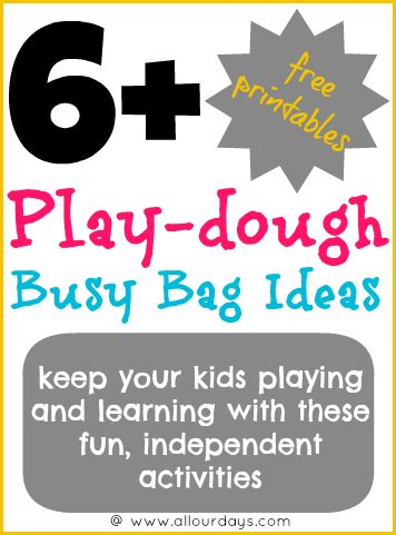 6+ Play-dough Busy Bag Ideas #freeprintable (Day 27) 31 Days of Busy Bags & Quiet Time Activities