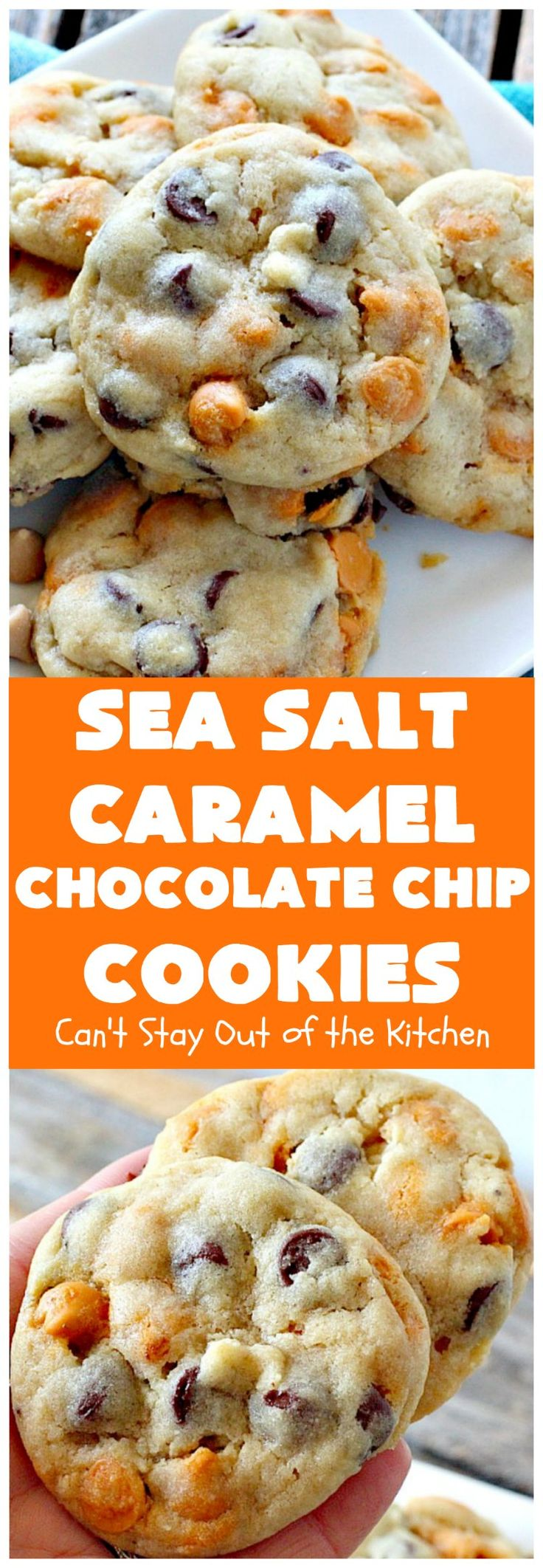Sea Salt Caramel Chocolate Chip Cookies - soy butter and vegan chocolate chips... what about the caramel chips?