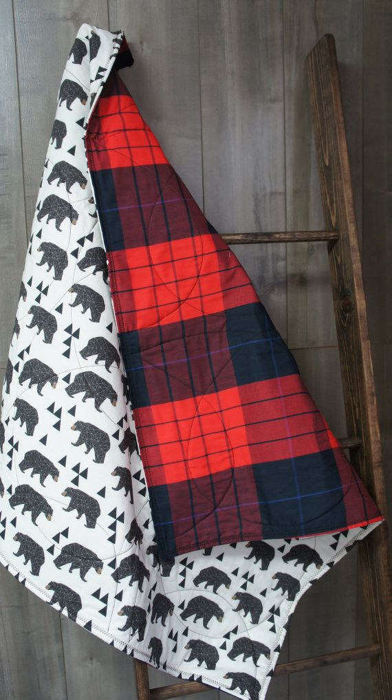 Baby  Quilt  Baby/Toddler Blanket  Woodland  Bear  by Babylooms
