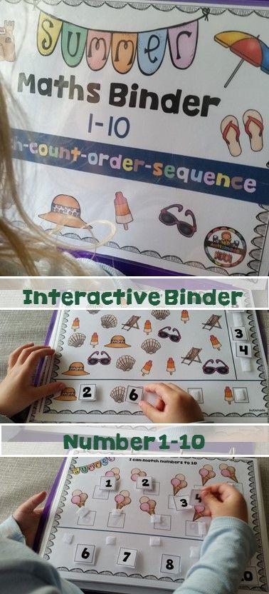 Summer Maths Binder 1-10 contains 12 interactive game type activities.