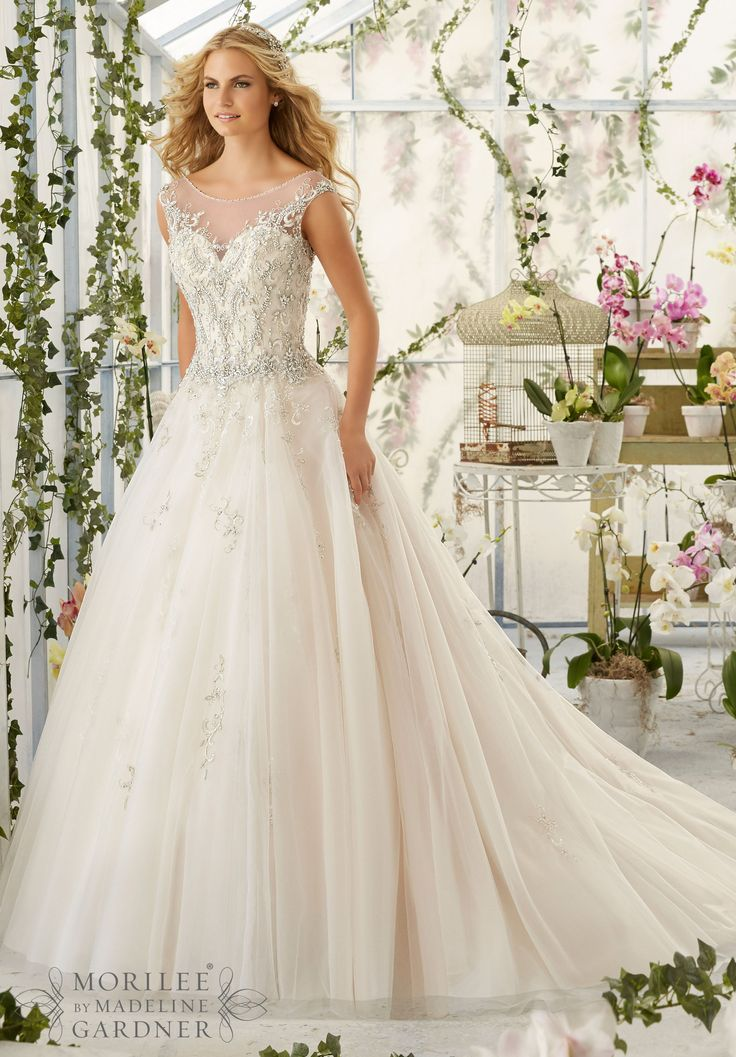 Mori Lee 2818 Bridal Gowns Dresses Intricate Crystal Beaded Embroidery Decorates The Tulle Ball Gown