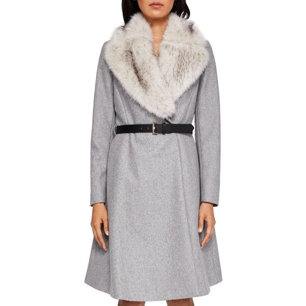 Ted Baker Narniaa Faux Fur-Collar Belted Coat ($595) ❤ liked on Polyvore featuring outerwear, coats, light gray, belted coat, coat with belt, cinch coat, faux fur collar belted coat and ted baker coat