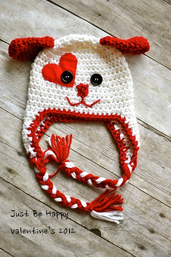 Valentine's dog earflap hat. it's an etsy product but it looks awfully easy to figure out!!
