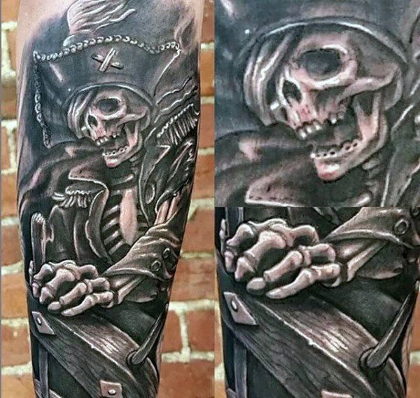 Pirate Themed Tattoo Sleeve 50 pirate tattoos for men - arrr ships ...